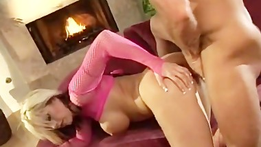 Busty Blonde Babe Fucked By The Fireplace