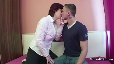 Mother fucks young German Step-Son when Dad not home