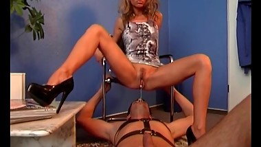Amazing whore dominats her man