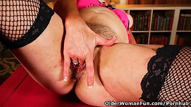 Grandma's old and hairy pussy needs to get off