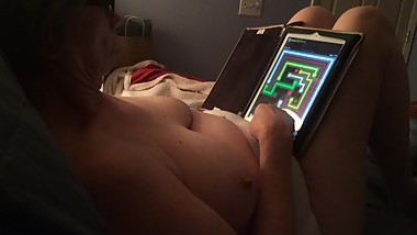 Playing while I video her luscious breasts