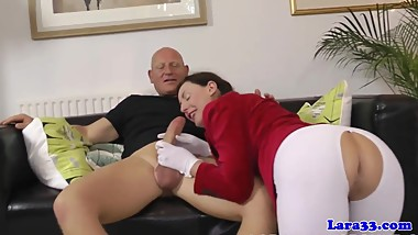 English upperclass mature drilled on floor