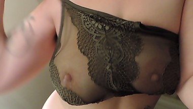 HD Milkymama strips and teases tits through lacey bra