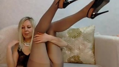 MILF Teasing in Black Pantyhose