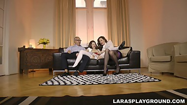 English milf cumswapping with petite babe