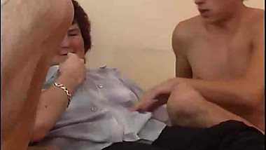 Chubby mom gets drilled filled by 2 young cocks