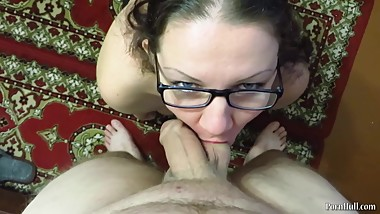 blowjob and cum in the mouth and on the tits