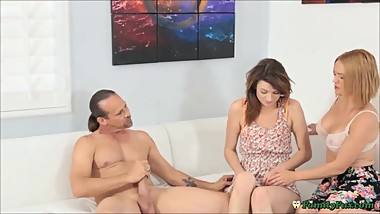 Milf Mom Teaching Shy Teenage Daughter Blowjob & Anal Sex