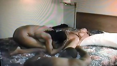 hubby watches his wife being used as a sex toy by a hot black couple