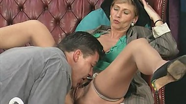 Crazy old mom gets fucked hard and does oral job for cum
