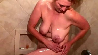 Saggy Boobed Mom In The Shower