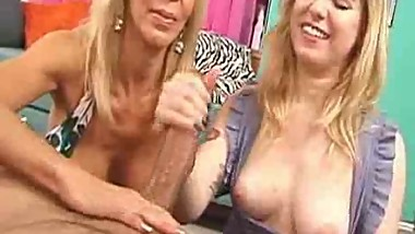Mom Teaches Girl How To Jack A Cock