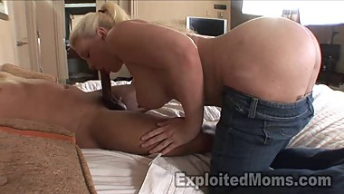 Big Booty Blonde Mom in Interracial Vid
