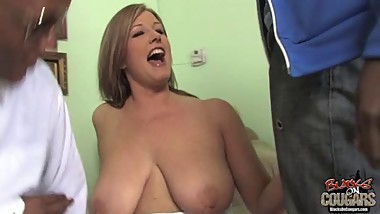 Mature white mom Zoey Andrews fucked by not her 2 black sons
